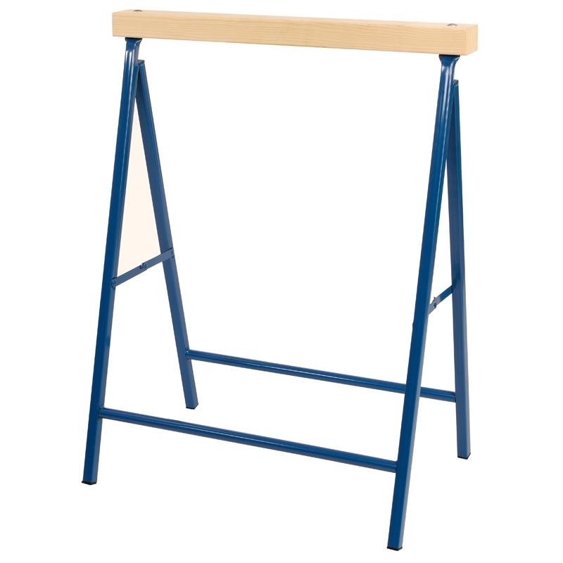 pro bau tec metall klappbock blau 100 kg mit holzauflage. Black Bedroom Furniture Sets. Home Design Ideas